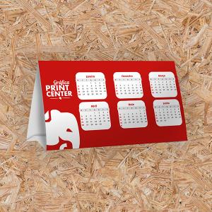 Calendário de Mesa - Prisma Cartão Triplex 250gr 21,0 x 9,5cm 4X0 - Colorido Frente Sem Revestimento Vinco - Corte Reto Base com fita dupla face para colagem