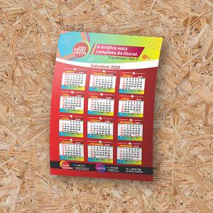 Calendário de Parede - 12 meses em 1 folha Triplex 250gr A4 - (21cm x 30cm) 4X0 - Colorido Frente Sem Revestimento Corte Reto Sem Extras