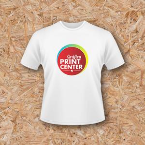 Camisetas Cor Branco - Poliéster Manga Curta Impressão Colorida Sem Revestimento Costurado Arte com até 20cm x 28cm