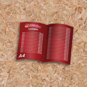 Cardápio Dobrado em PVC PVC 0,30 28x20cm 4x4 (colorido frente/verso) Sem Revestimento 1 Vinco Sem Extras