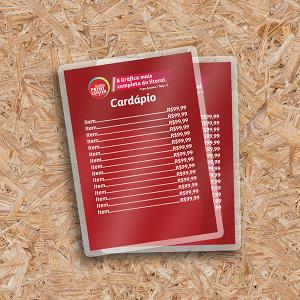 Cardápio Simples em PVC PVC 0.30 A5 - 15x21cm 4x0 (colorido frente) Sem Revestimento Corte Reto Sem Extras