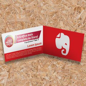 Cartão de Visitas - Duplo Couche 300gr Duplo Retangulo - 17,6 x 4,8cm 4X0 - Colorido Frente Sem Verniz Corte Reto | Vinco Central Sem Extra