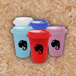 Copo de Café - 400ml Plástico  Gravação em Transfer Colorido 4x0   com tampa
