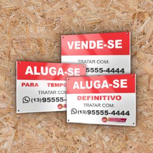 Placa Vende-se/Aluga-se PS 2mm 40cm x 30cm 4X0 - Colorido Frente Impressão UV Direta na placa Corte Reto Sem Extra