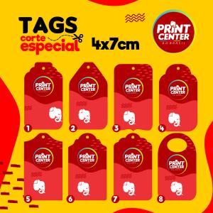 Tag Especial - Laminado - 4cm x 7cm Couchê 300gr 4cm x 7cm 4X0 - Colorido Frente Laminado Corte Especial Sem Extra