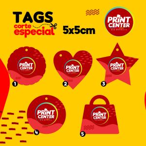 Tag Especial - Laminado - 5cm x 5cm Couchê 300gr 5cm x 5cm 4X0 - Colorido Frente Laminado Corte Especial Sem Extra