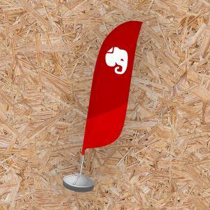 Wind Banner Modelo Pena Tecido Microfibra 74cm x 230cm 4X0 - Colorido Apenas 1 Lado Sem Revestimento Costurado | Corte Especial Somente Bandeira